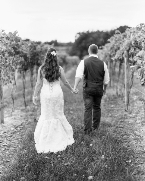 Romantic black white wedding portrait - Breitenbach winery tool shed dover Ohio